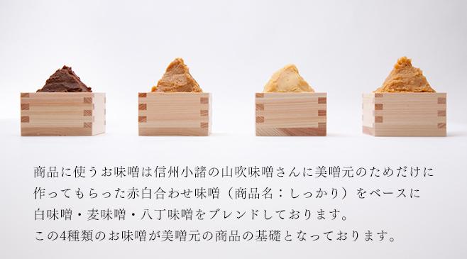 商品に使うお味噌は信州小諸の山吹味噌さんに美噌元のためだけに